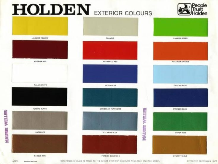 Holden Rodeo Paint Codes Colors