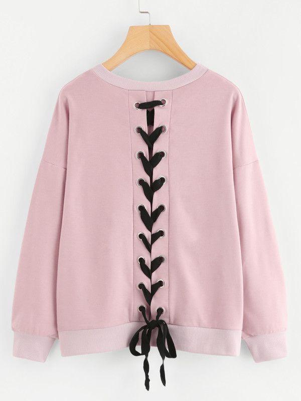 Lace Up Back Sweatshirt -SheIn(Sheinside)