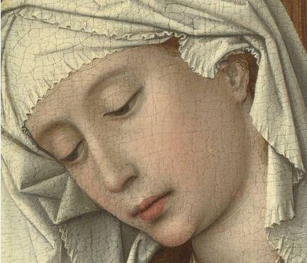 Rogier van der Weyden, The Magdalen Reading, detail. 62.2 cm × 54.4 cm (24.5 in × 21.4 in). Date unknown but possibly 1435–38. Oil on oak panel. National Gallery, London.