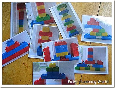 Make lego cards to help practice visual discrimination, hand-eye coordination, and 3D engineering all in one