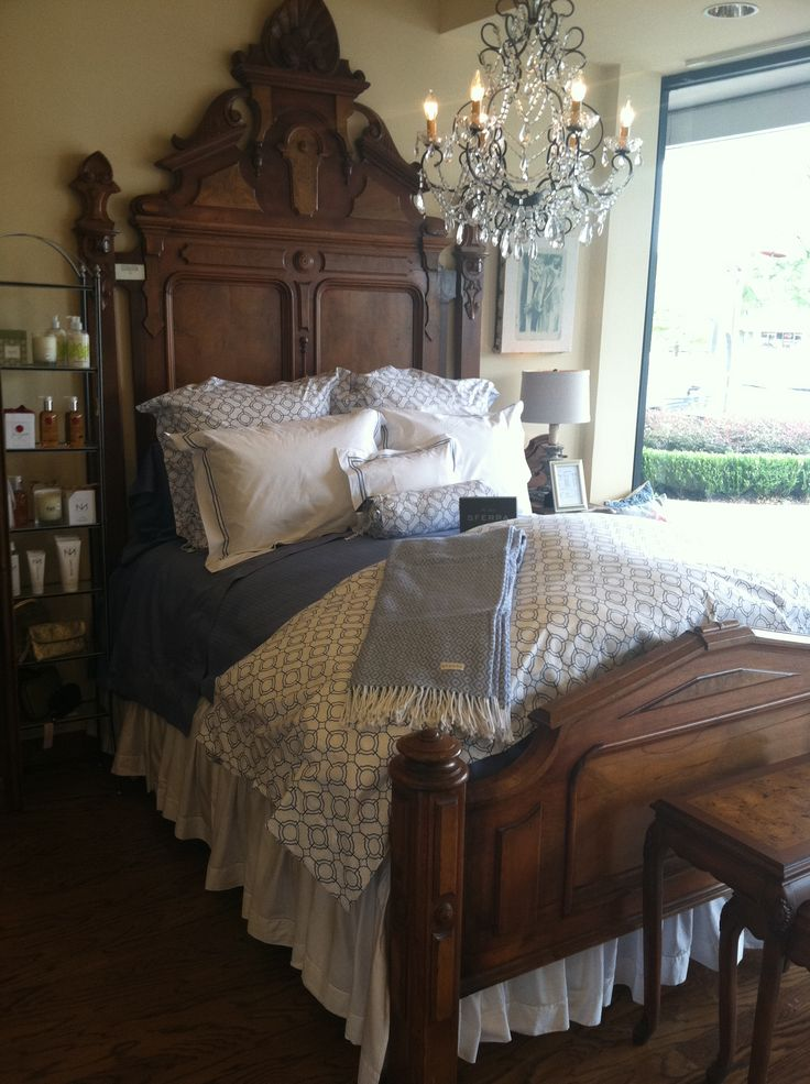 Our Connery bedding looking stately at the Linen Boutique in Dallas, TX.