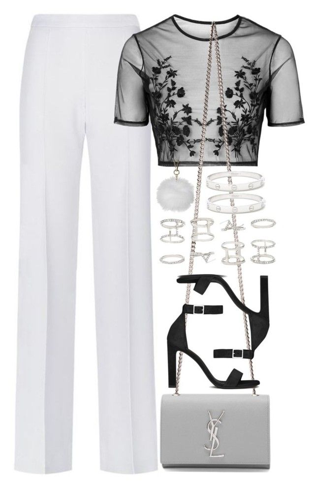 """""""Untitled #3920"""" by amyn99 ❤ liked on Polyvore featuring BOSS Hugo Boss, Topshop, Yves Saint Laurent, Forever 21 and Cartier"""