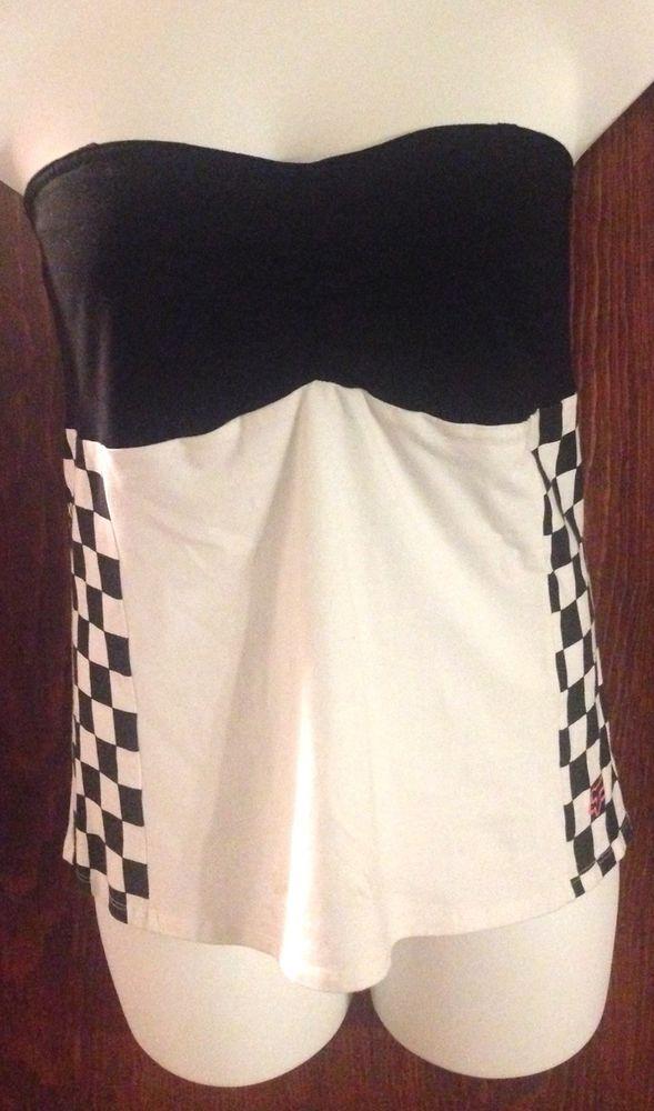 NWT Juniors Sexy FOX RACING RIDERS Black White CHECKERED Tube Top Size XL  | eBay
