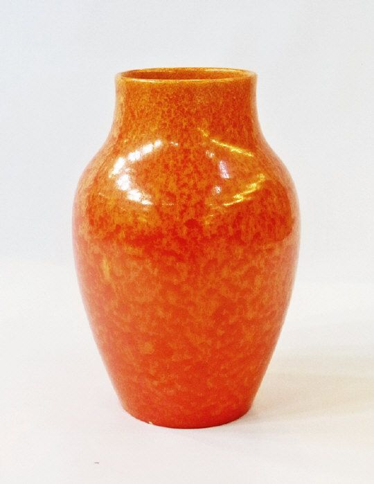 "Pilkingtons Royal Lancastrian studio pottery vase by Ernest T. Radford, ovoid with mottled orange glaze, inscribed to base with initials ""ETR"", 27cm high Estimate £40.00 to £60.00 (Lot no: 67 in sale on 05/08/2014) The Cotswold Auction Company"