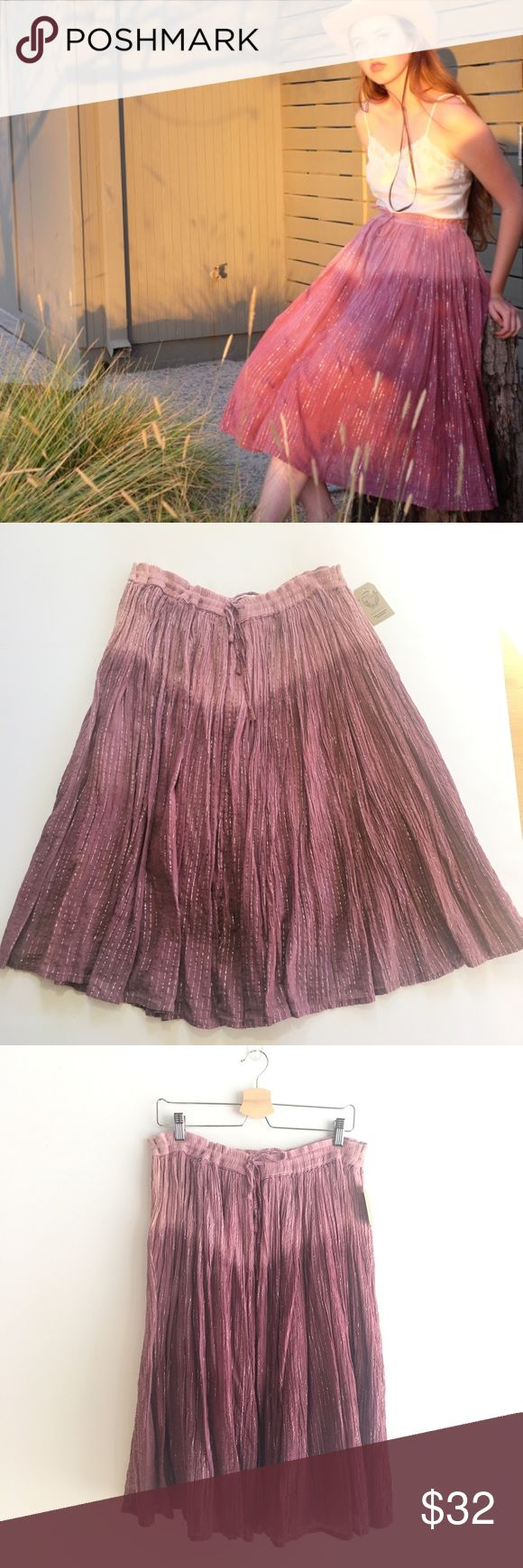 Vintage Lurex Dip Dye Skirt, soft Indian cotton Soft Indian cotton skirt with lurex stripe and beautiful dip dye in dusty pink. On trend in color and style! Drawstring one size fits most, 80s 90s vintage in very good condition. Very Free People bohemian chic without the pricetag. NO low ballers plz. 😉 Vintage Skirts Midi