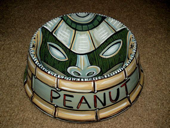 Tattoo dog bowl TIKI ceramic hand painted totem green food safe retro. $89.99, via Etsy.