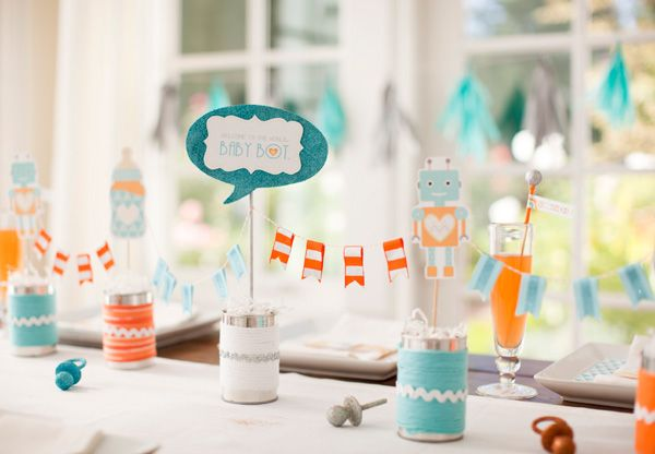 "silver and yellow chevron theme baby shower | Bundle of Bots"" Robot Baby Shower for Potterybarn Kids! {FREE ..."