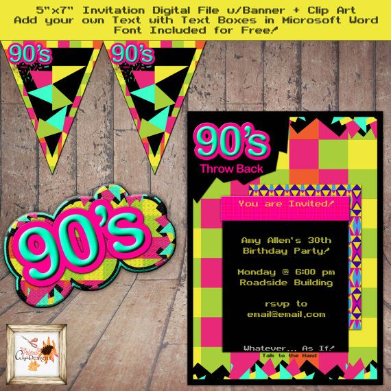 90 u0026 39 s theme party throwback 5 x 7 invitation for by