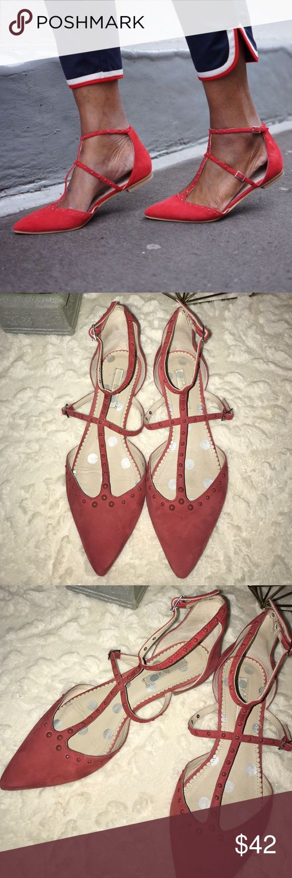 Boden Dark Red T-Strap Flats Boden Strappy T Bar. For a easy everyday chic look. Very soft suede, Lining leather and Sole man-made. Boden Shoes Flats & Loafers