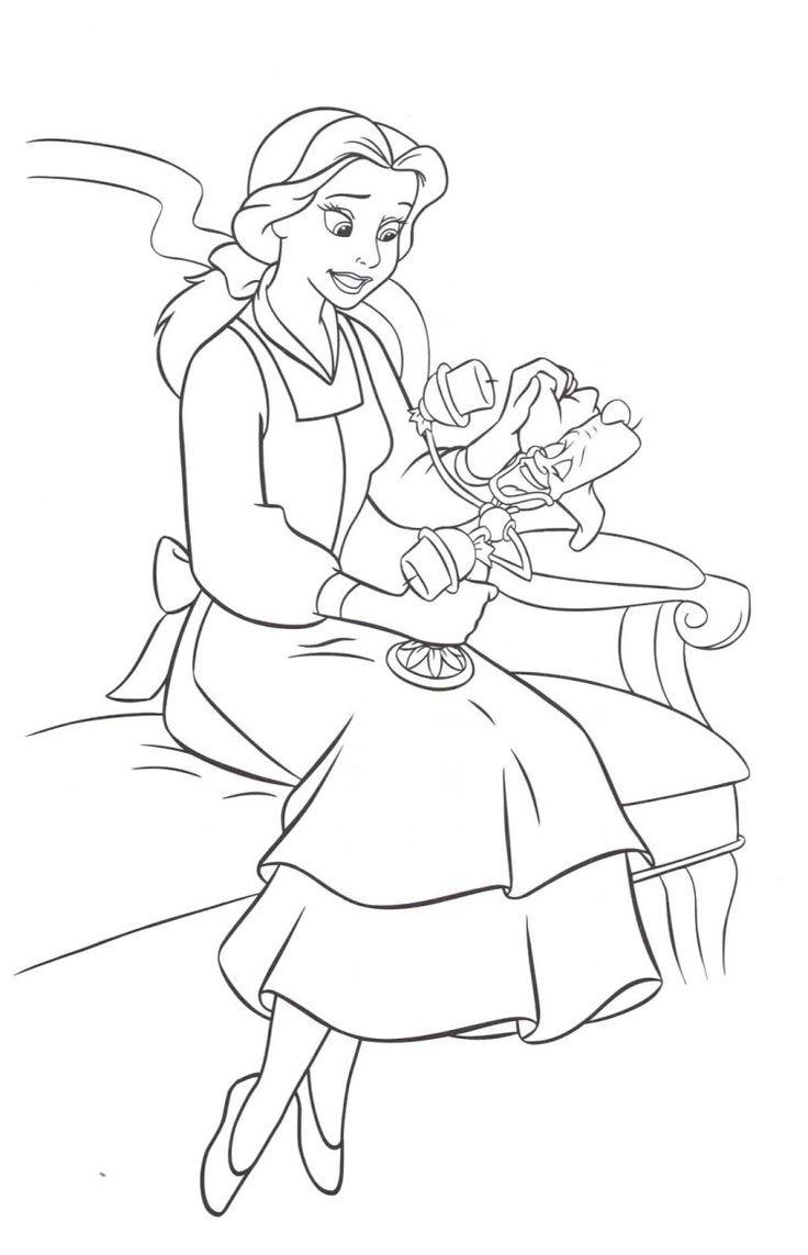coloriage la belle et la bête  Belle coloring pages, Disney