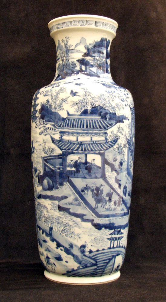 A Fine Large Kangxi Blue and White Porcelain Rouleau Vase c.1680-1700, Depicting the `West Lake`.