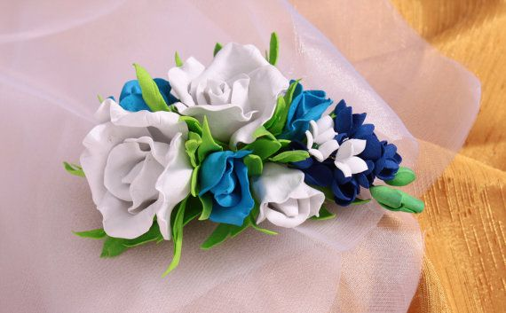 boutonniere brooch flower roseRose White bluewedding by Stefanyaua