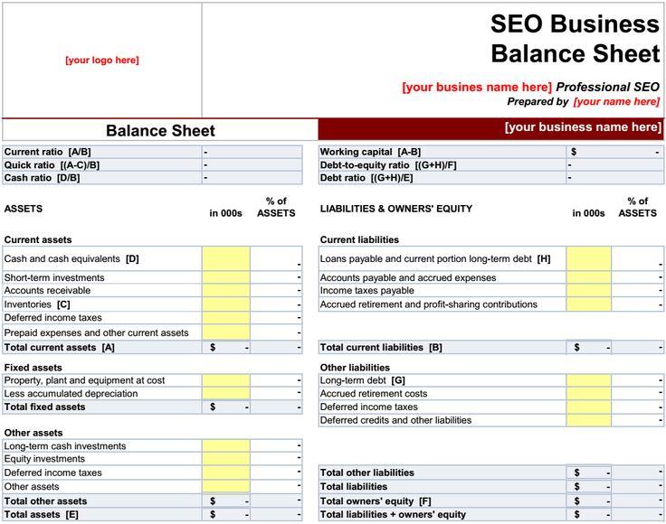 25 best ideas about Balance sheet template – Accounting Balance Sheet Template