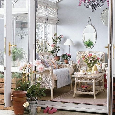 Calming garden room/porch.  Peaceful, vintage, romantic.  #lovely-spaces-porches-and-outdoor-rooms