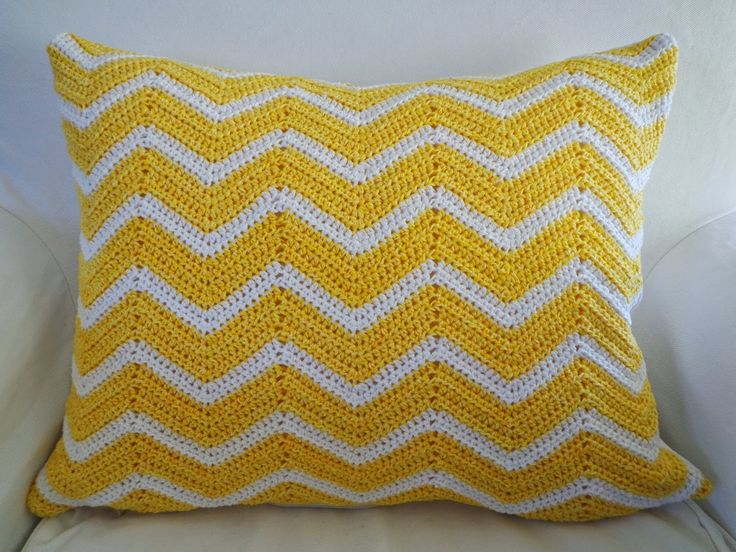 Yellow crochet chevron