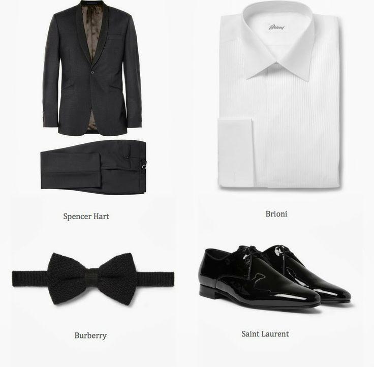 Spencer Hart tuxedo, Brioni shirt, Burberry bow tie and Saint Laurent shoes.