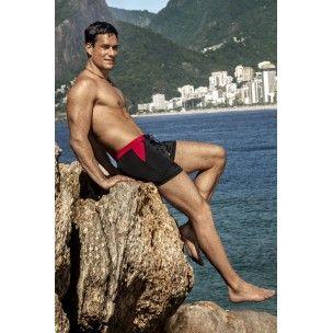 Novinka 2014! Pánské plavky CLEVER Copacabana CM-0574 v černočerveném provedení.
