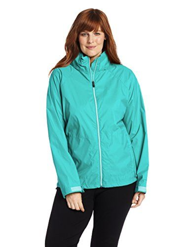 Columbia Women's Plus-Size Switchback II Jacket, Miami, 3X. Waterproof jacket featuring stow-away hood and back venting system. Zippered hand pockets. Adjustable cuffs. Packable into hand pocket.