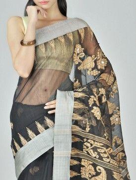 Black Shankha Cotton Silk Tangail Saree