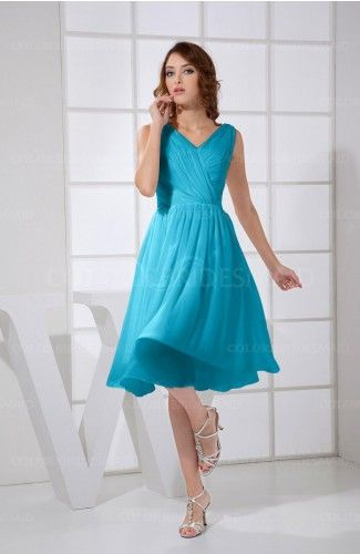 Teal Simple A-line V-neck Zipper Knee Length Ruching Party Dresses