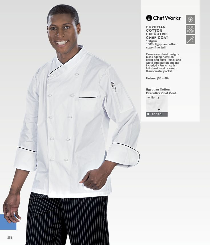 Chef jacket with cross over chest design. Black piping detail on collar and cuffs. Black and white stud button options included.    • Chef jacket with French cuffs • Left chest inset pocket • Jacket comes with thermometer pocket • Chef coat made from 100% Egyptian cotton • Chef coats in sizes: 36 - 48.
