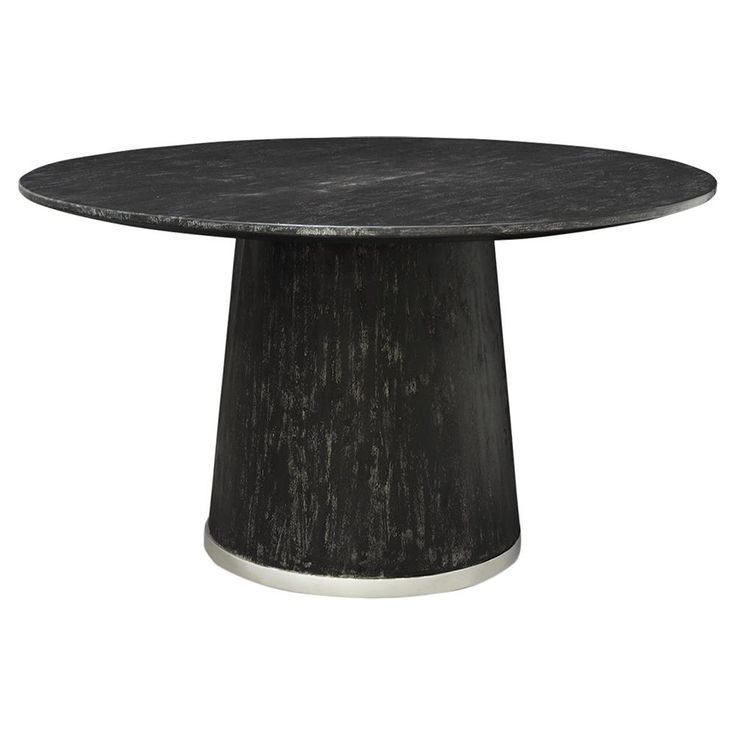 hannie loft silver trim black round dining table