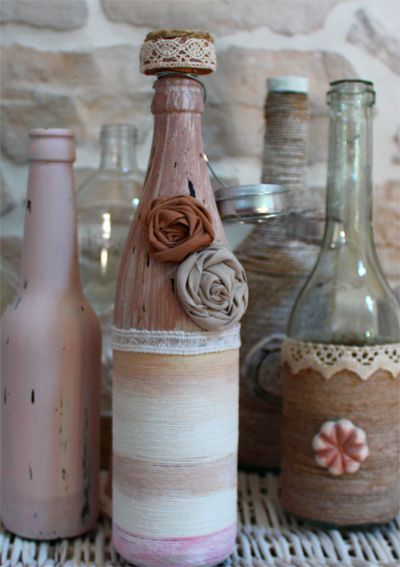Come decorare bottiglie di vetro - How to decorate glass bottles  www.lisoladeglidei.it