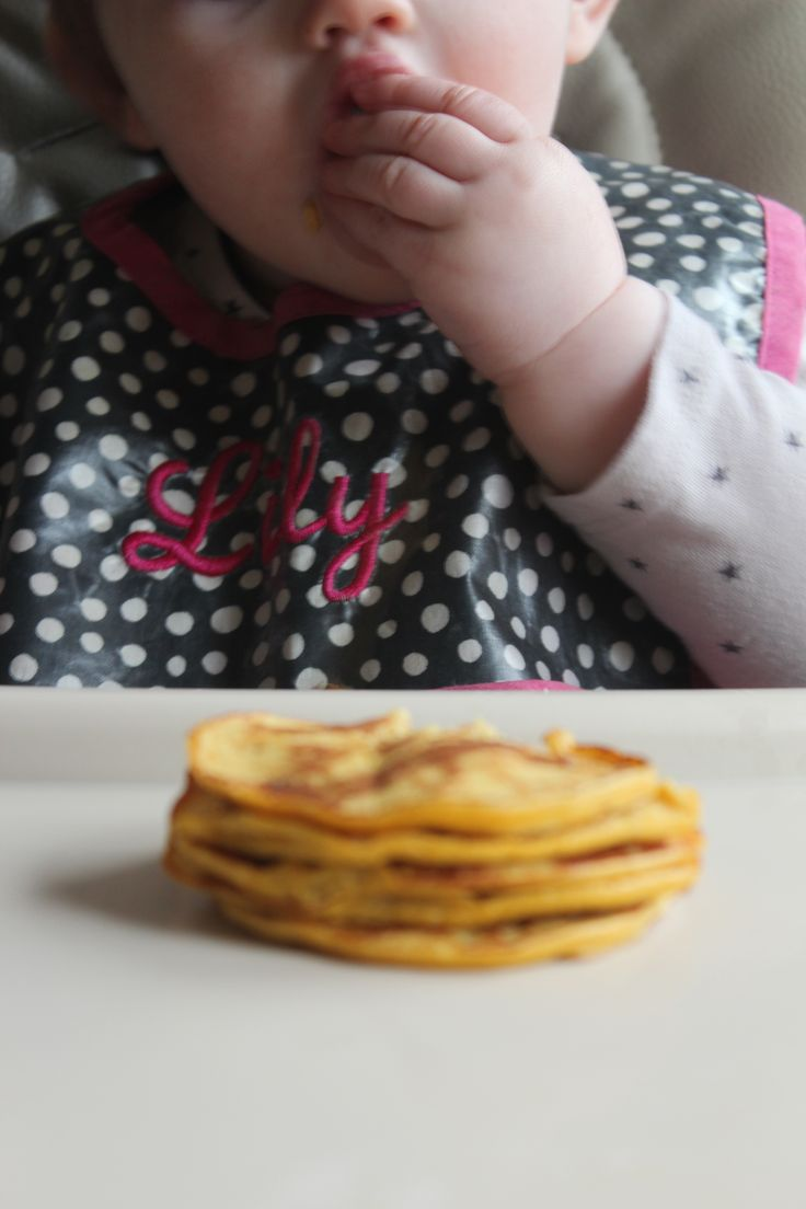 4 ingredient baby pumpkin banana pancakes. I cooked longer- 4 min on first side and 2-3 on second
