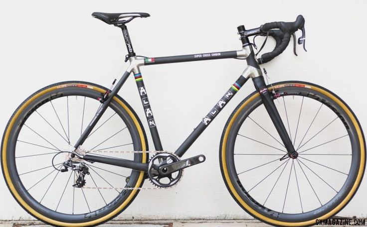 The winningest cyclocross bike brand is back, and the Alan Super Cross carbon cyclocross bike is a modern tube-to-tube construction but features a retro aluminum lugged look. © Cyclocross Magazine