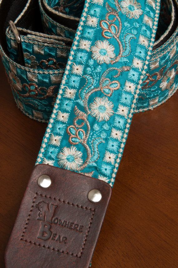 Embroidered Blue/Ivory Flower Guitar Strap by nowherebearstraps