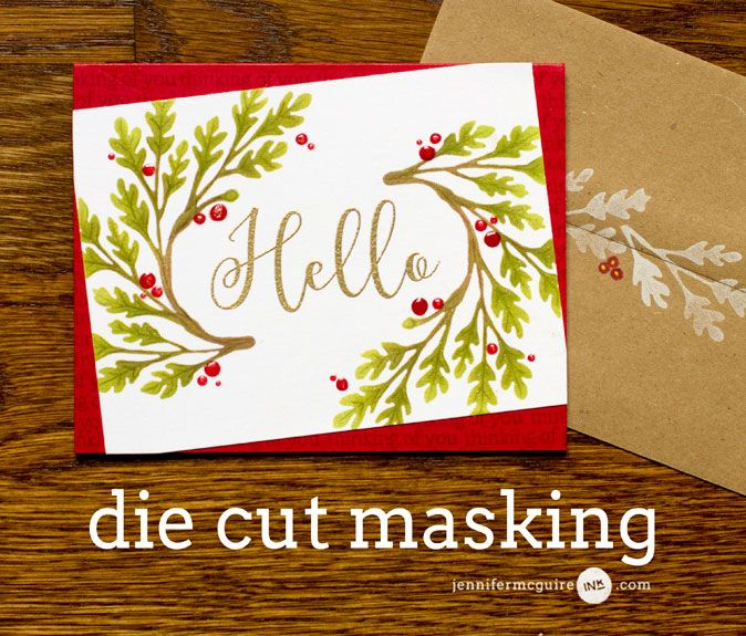 Die Cut Masking Video by Jennifer McGuire Ink {great tutorial using a diecut as a mask & using ink daubers & hero arts ombré inks + using your dies with craft foam & make a stamp} (jm, cards4, fav)