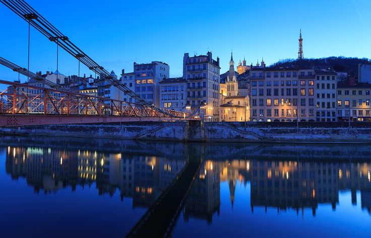 """Passerelle Saint-Vincent - Illuminated footbridge Passerelle Saint-Vincent over the Sane river in Lyon, France, during blue hour. Shot with LEE soft ND filter.  If you like my work, I invite you to follow me on <a href=""""https://www.instagram.com/sandervdw/"""">INSTAGRAM </a>"""