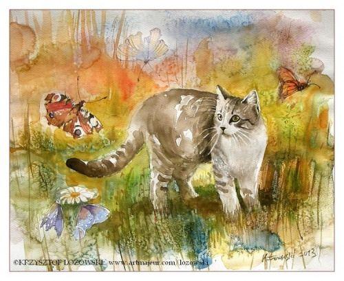 Butterfly Cat  by Krzysztof Lozowski