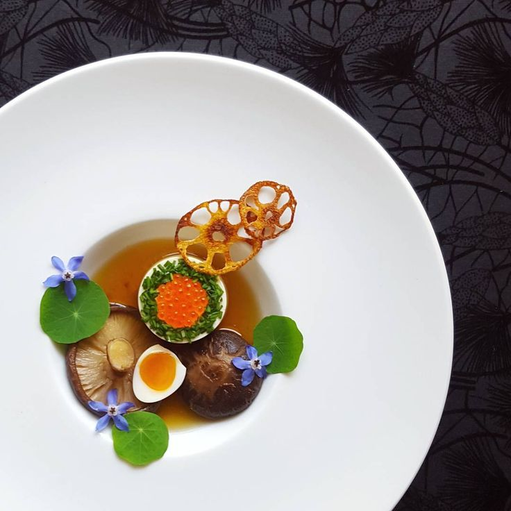 Shitaki mushroom, quail egg, tofu, ikura, lotus root and mushroom broth.