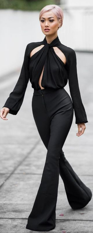 Black, Cut Out Top & Wide Leg Pants | fashion look by Micah Gianneli.