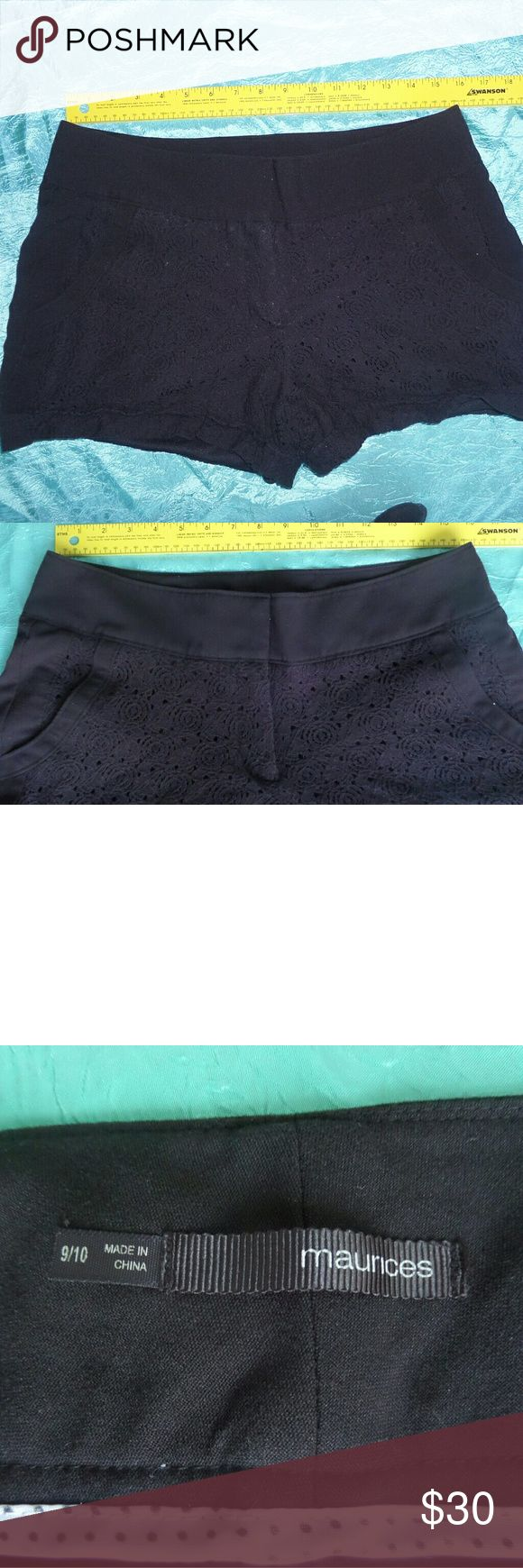 """Maurices I Am Smart Dress Mid Rise Short Blk 9/10 Maurices I Am Smart Dress Short Short zip fly closure with 1 button and 2 metal hooks 2 front pockets shorts have double lining outer-layer is like a lace crochet material please see pictures   SIZE: size 9/10 waist approx 32"""" rise approx 10"""" hip approx 42"""" inseam approx 3"""" leg opening approx 20""""  CONDITION: good pre-owned condition might show a little fade or wear  MATERIAL: Exterior: 77% cotton 23% nylon Contrast: 84% Polyester 13% rayon 3%…"""