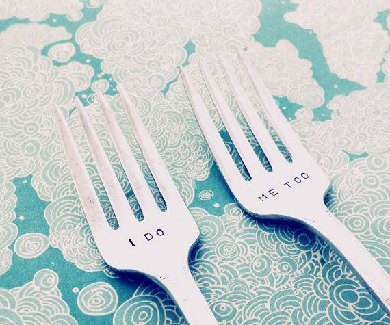 This listing is for two beautiful silver plated,vintage forks hand stamped,with I DO ME TOO under the tines  You can add the:  ~ Wedding Date ~ -------- OR ------------ ~ The Happy Couples Surname ~  to the handles of the cutlery  Please leave the details in the NOTE TO SELLER section when you check-out  °¨¨°º©©º°¨¨°º©©º°°¨¨°º©©º°¨¨°º©©º°°¨¨°º©©º°¨¨°º©©º°°¨¨°º©©º°¨¨  ♥ Why not have it gift wrapped? Please visit my listing here:  https://www.etsy.com/uk/listing/1694811...