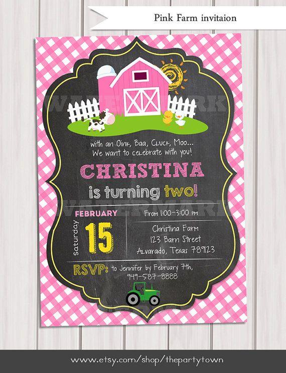 Girls Farm Invitations Old McDonald Invitations Pink Country Birthday Party Chalkboard Farm Birthday Invitation Personalized Printable pdf