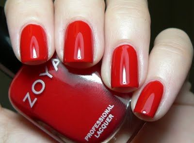 Zoya Sooki. Beautiful, bright, pinup-y red cream! This color applies like a dream.