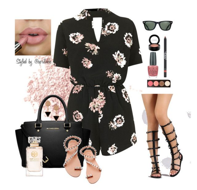 """""""Outfit #56"""" by aprilhayes123 on Polyvore featuring Bare Escentuals, Oh My Love, MICHAEL Michael Kors, Ray-Ban, Eyland, Elina Linardaki, Tory Burch, Lipstick Queen, OPI and MAC Cosmetics"""