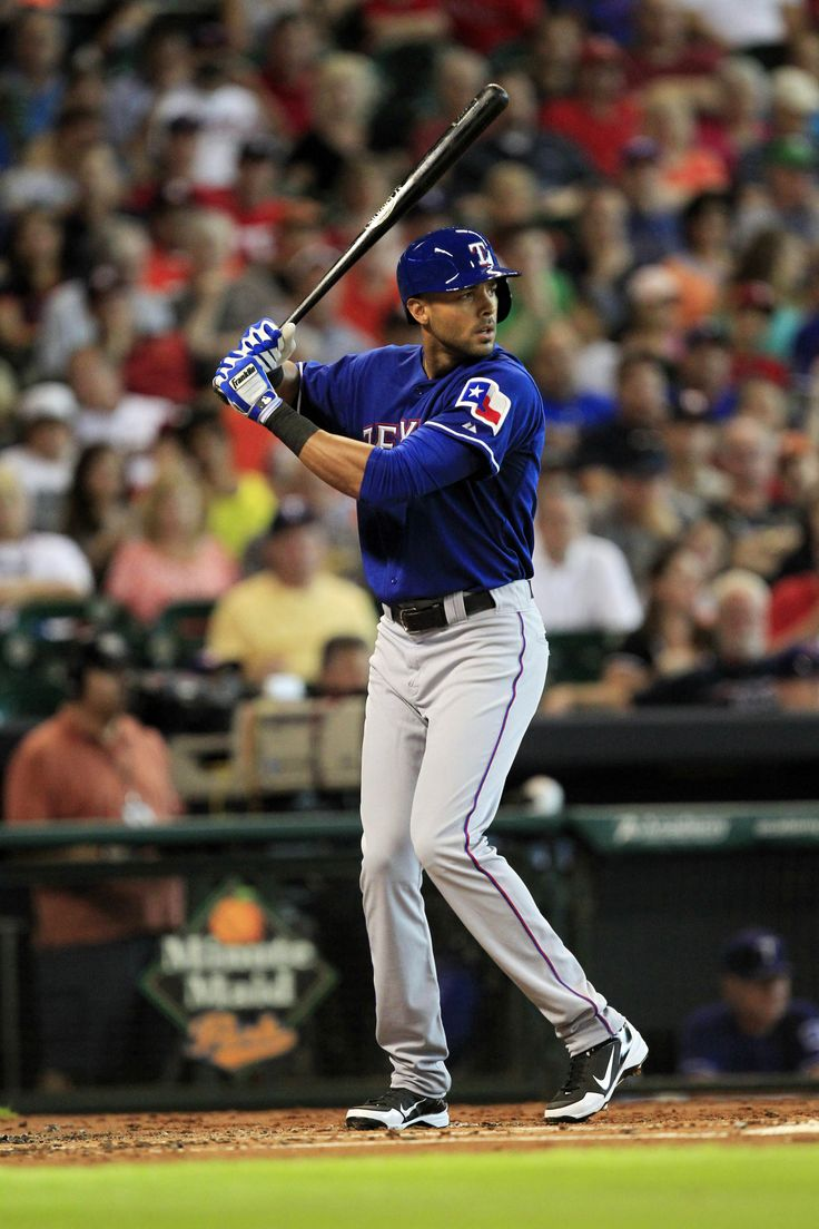 Texas Rangers right fielder Alex Rios walks in his first plate appearance as a Ranger against the Houston Astros during the second inning at Minute Maid Park.