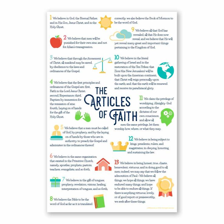 "This poster has the 13 Articles of Faith. It features visuals of each article of faith with vibrant colors.Primary children will love this poster!Poster measures 11"" x 17""."