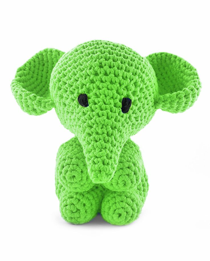Hoooked Large Elephant Mo green amigurumi crochet kit & pattern #crochet #gift #cute #animal #craft