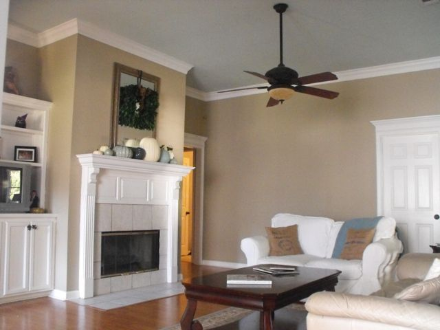 Our family room office pinterest beautiful rain and for Khaki green walls
