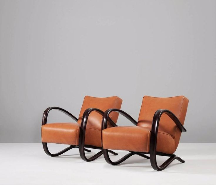 Halabala Lounge Chairs Re-Upholstered in Cognac Leather  2