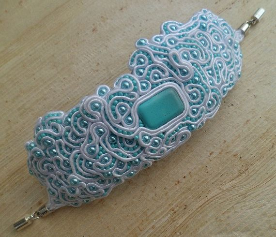 Sea Foam. Handmade, soutache bracelet. Vegan friendly.