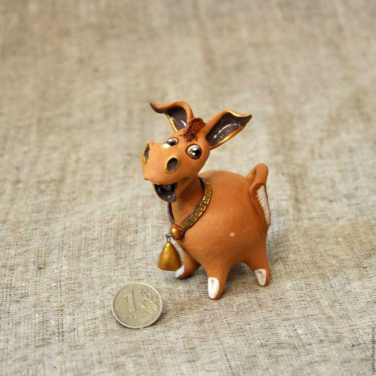 Купить Радостный ослик. - рыжий, ослик керамика, керамика ручной работы, керамический ослик, осел