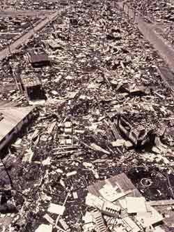 Aerial view of Cyclone Tracy's destruction Christmas 1974 / Cyclone Tracy was a tropical cyclone that devastated the city of Darwin, Northern Territory, Australia, from Christmas Eve to Christmas Day, 1974. It is the most compact cyclone or equivalent-strength hurricane on record in the Australian basin, with gale-force winds extending only 48 kilometres (30 mi) from the centre and was the most compact system worldwide until 2008.