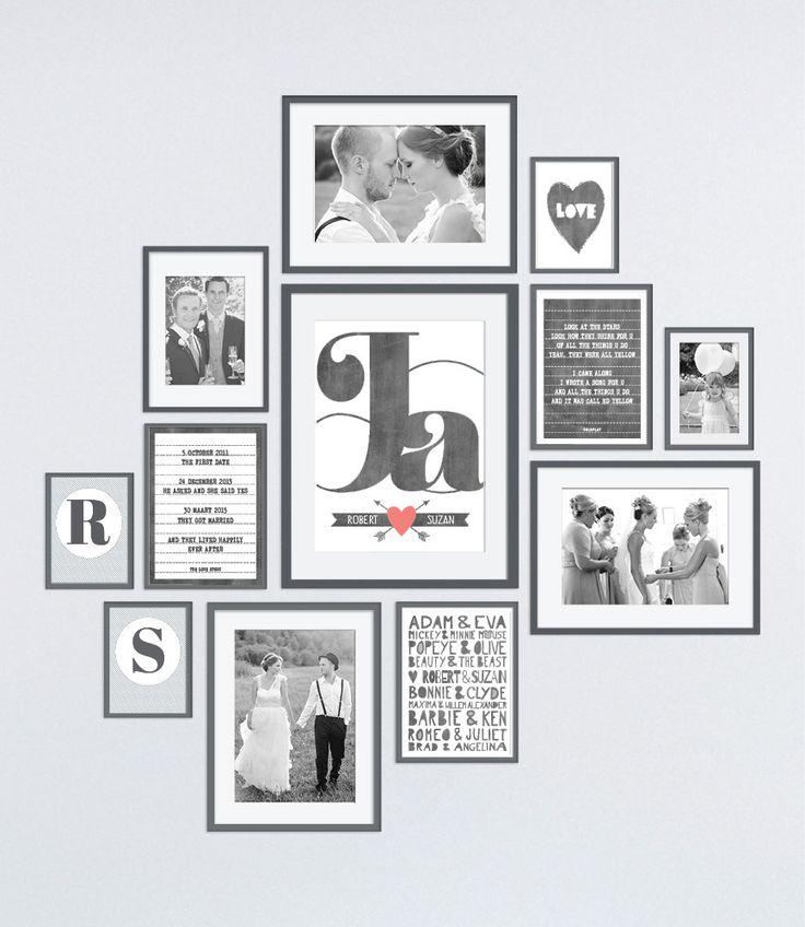 zwart wit muurcollage met trouwfoto's en prints in lijstjes