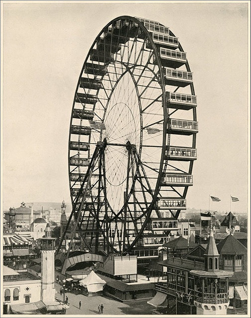 The first Ferris wheel by George Ferris. Build by George Ferris and sometimes known as The Chicago Wheel, it opened to the public on June 21, 1893, at the World's Columbian Exposition in Chicago, Illinois.